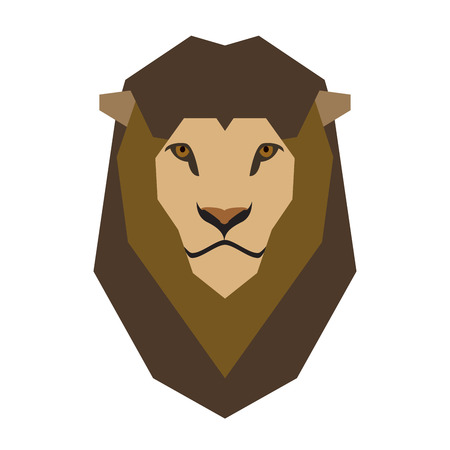 vector illustration lion head on white. king of all animals symbol of courage.