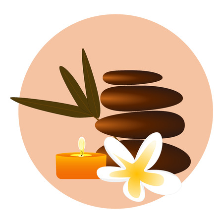 vector illustration of a spa massage stones and orchid flower and candle.
