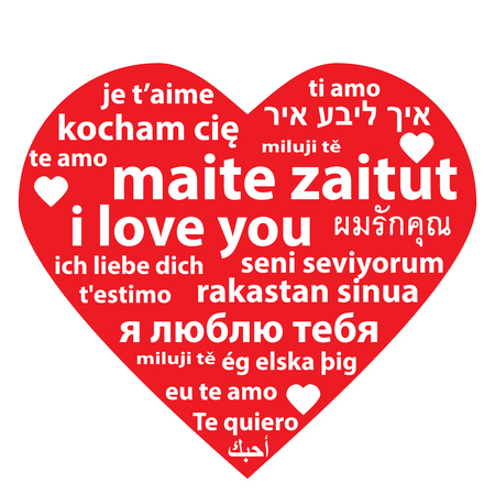 sentence: vector illustration of red heart with multilanguage I love you sentence