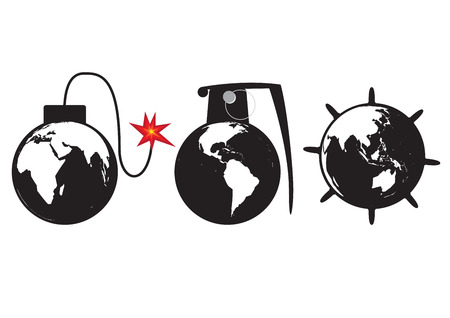 the end of the world: Planet Earth as a globe bomb grenade and sea mine. vector format.