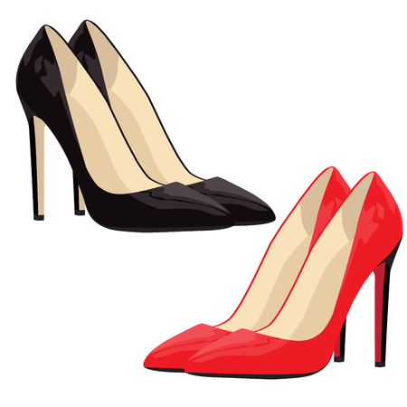 fashion shoes: vector illustration of fashionable high wheel very attractive red and black womens shoes