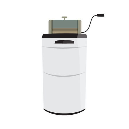 article of clothing: vector illustration of a retro wash machine with wringer