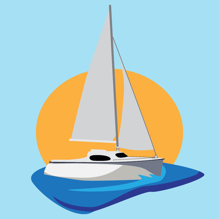 water transportation: vector illustration of a yacht on the sea, with big sun in background. Illustration