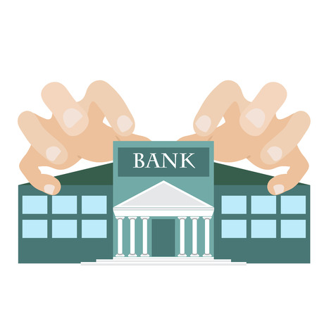 greedy: vector illustration of a greedy hands reaching bank building. symbol of one of the seven deadly sins.