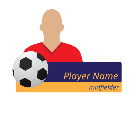 schema: vector soccer player avatar with tables for name and position. easy to edit color schema.