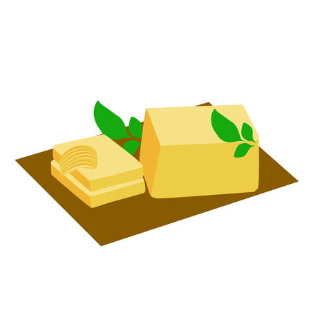 lard: vector illustration of butter, butter curl and herb leaves on brown background.