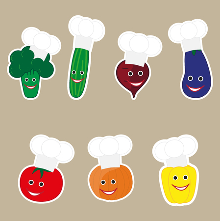 cook cap: vector illustration of funny character with vegetables cook cap. great for fridge magnet.