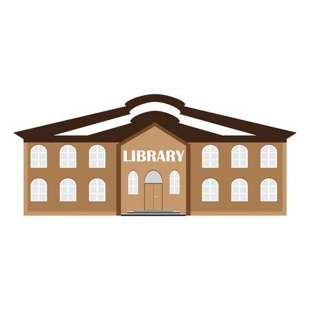 biblioteca: ilustración vectorial de un edificio de la biblioteca. icono de la educación y el conocimiento.