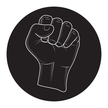 riot: Vector of raising a fist in black circle. call to fight and revolution. Illustration