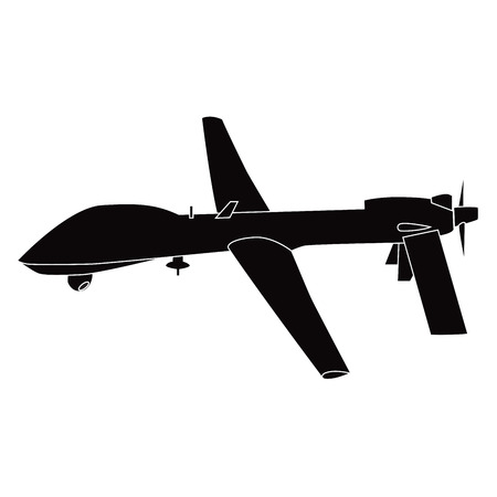 vector image of military drone. remote aircraft. Stock Illustratie