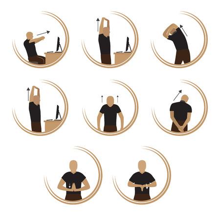 icono computadora: El ejercicio de relajar cuerpo del estr�s por ordenador