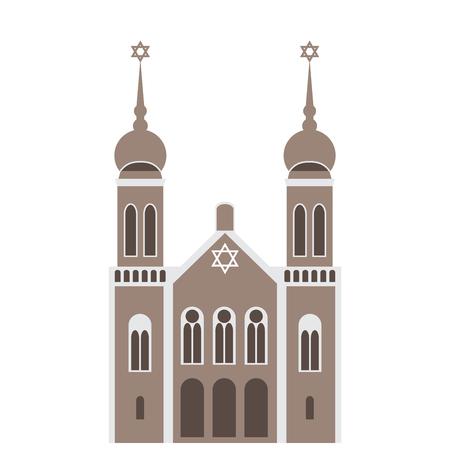 synagogue: vector illustration of a synagogue building. jewish temple. Illustration