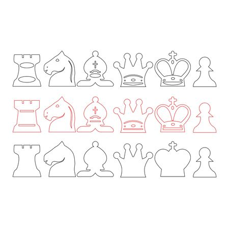 vector illustration of various types of chess pieces. thin line icons set.