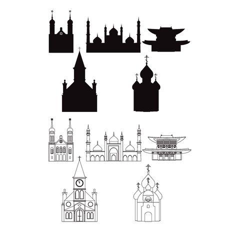 the christian religion: vector illustration of temples. symbols of most popular religinons. Illustration