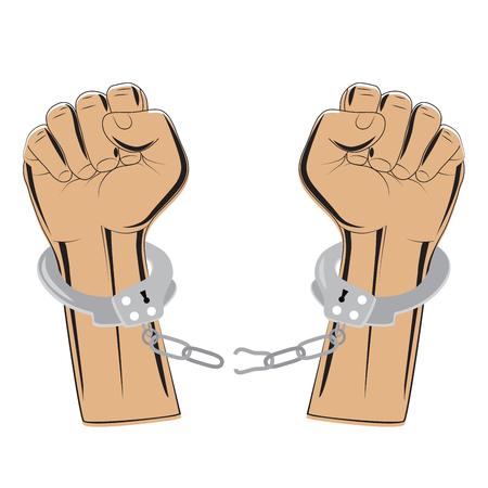 break chain: broken chain in handcuffs vector illustration. concept symbol of revolution and freedom Illustration