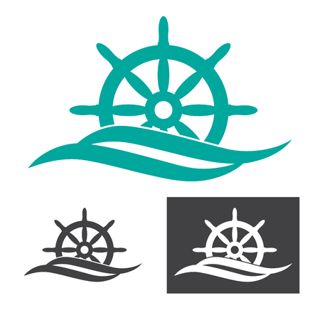 helm: vector illustration of a rudder emerges from sea wave logo for maritime companies
