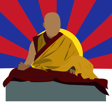 tibet: vector buddhist monk character with Tibetan national colors in background Illustration
