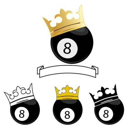 8 ball: vector illustration of a billiard ball number 8 with crown. icon Illustration