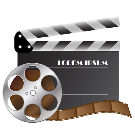 cinematography: vector clapper board and film strip for cinematography industry