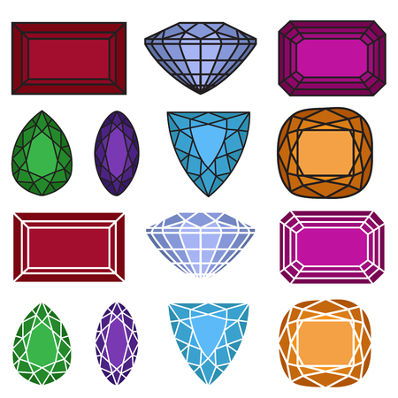gemstones: gems. vector illustration of jewelry gemstones set.