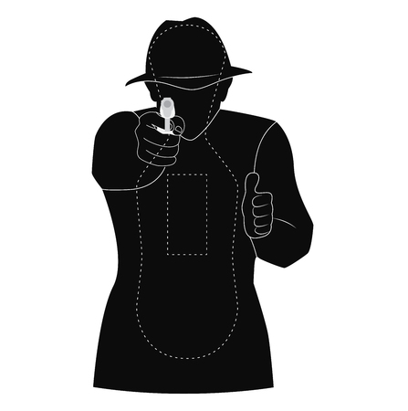 target vector black silhouette of man. best for practicing aiming Ilustração