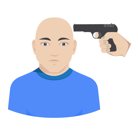 holding gun to head: hand holding a gun aiming in the head. illustration of homicide or suicide.