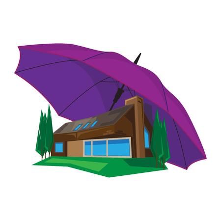 seguro: ilustración vectorial de una casa bajo el paraguas. El concepto de protección y seguros