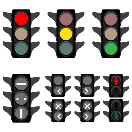 regulate: vector illustration of traffic lights semaphores for cars trains buses and walkers Illustration