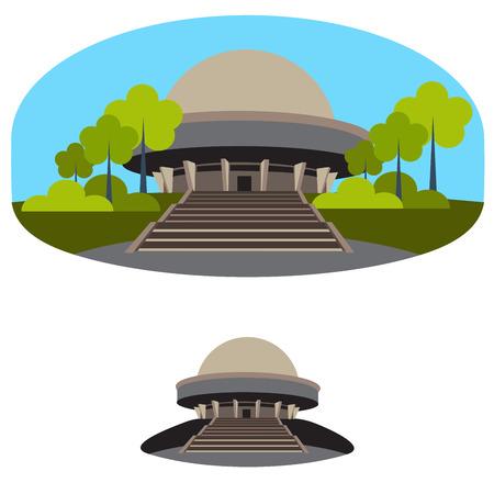 planetarium: planetarium building. vector format illustration of orrery Illustration