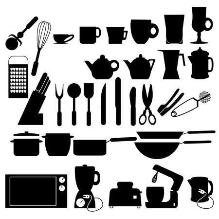 utensils: vector illustration of Kitchen utensils silhouettes set