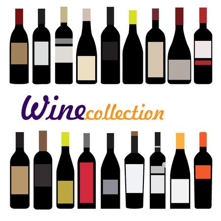 mamadera: ilustraci�n vectorial botella de vino. colecci�n de botellas negras con etiquetas de color
