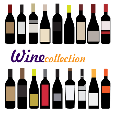 wine bottles: wine bottle vector illustration. collection of black bottles with color labels