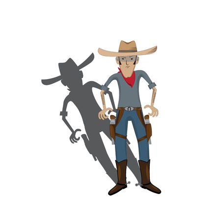 cowboy cartoon: vector illustration of a stylized cartoon cowboy with shadow.