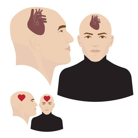 heart intelligence: Heart in head vector illustration. a symbol of emotional intelligence