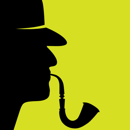 vector illustration of a detective with the pipe silhouette profiles