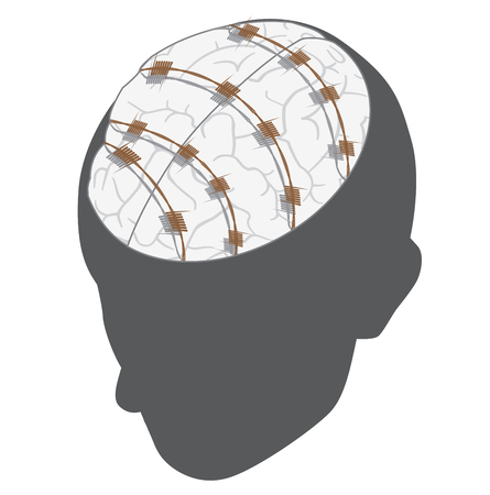 slavery: illustration of a human head with brain wrapped by barbed wire. mental slavery concept.