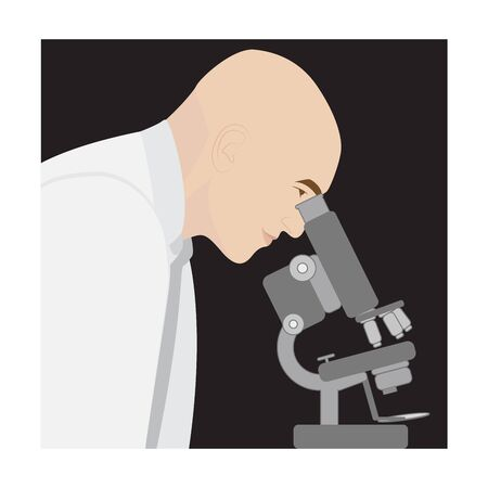 microbiologist: illustration of a scientist looking through a microscope