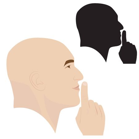 silence: illustration of man profile showing silence gesture
