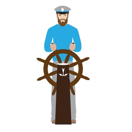 seaman: sailor. illustration of a seaman captain with rudder