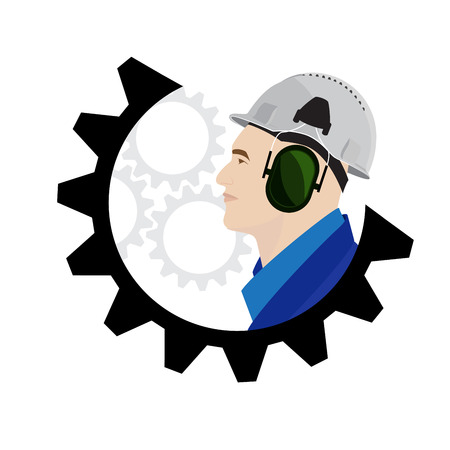 safety equipment: vector illustration of a construction worker logo concept. man with helmet and ear safe