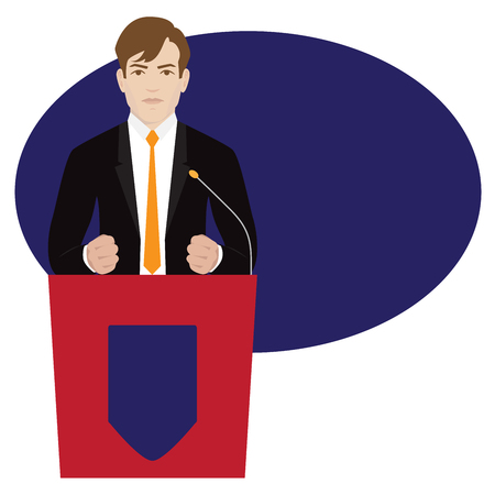 politician: Vector politician giving emotional speech with clenched fists