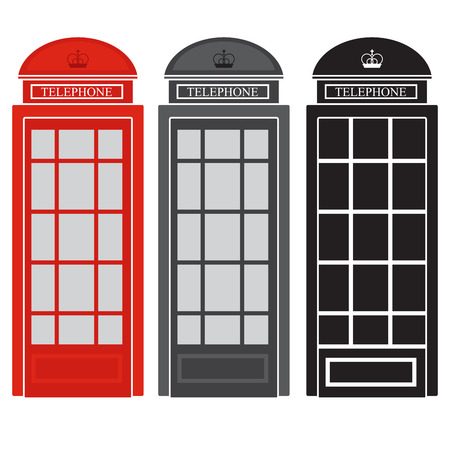 telephone booth: public phone booth. vector illustration of a British street telephone.
