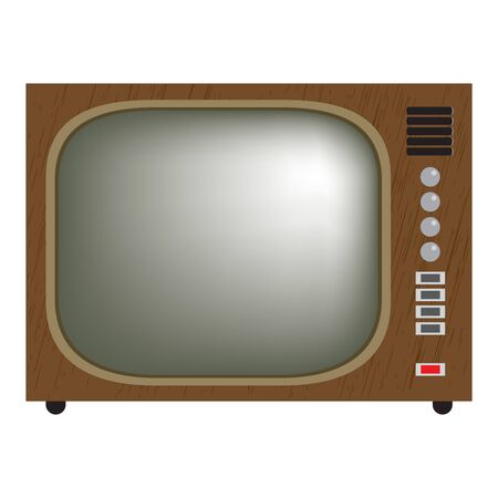 vintage television: retro television. vector illustration of vintage television set. Isolated on white. gradient mesh used.