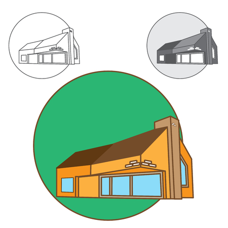 logo concept with house in circle. Perfect for real estate company. three versions