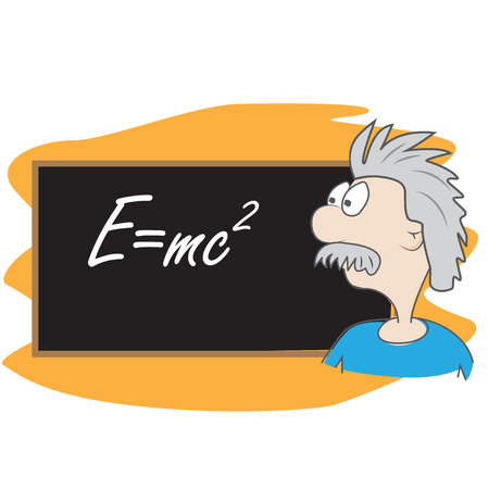 albert einstein vector cartoon illustration. scientist in front of board with his famous formula E = mc2 Illustration