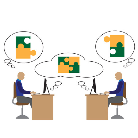 virtual office: remote team working. project in the cloud. people in a virtual office. Illustration