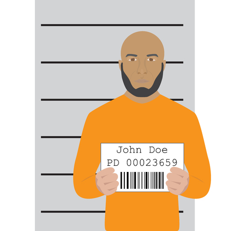 arrested: illustration of a mugshot of arrested man