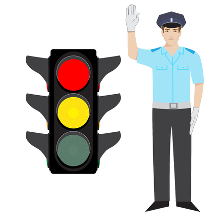 security lights: policeman showing ready to go gesture. red and yellow traffic light.