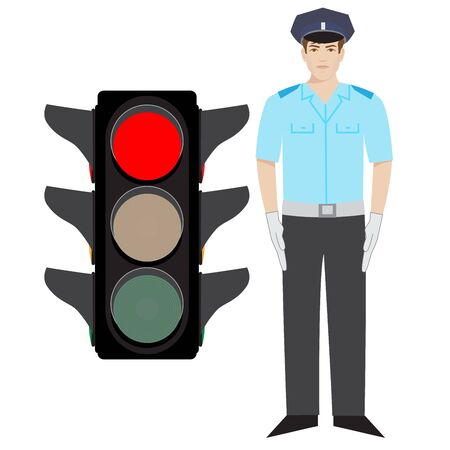 stop gesture: policeman showing stop gesture. red traffic light. Illustration