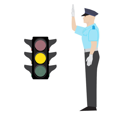 stop gesture: policeman showing ready to stop gesture. yellow traffic light.